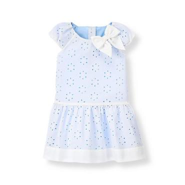 Pure White/French Blue Bow Eyelet Dress at JanieandJack