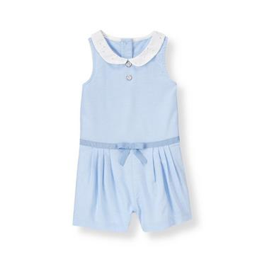 Oxford Blue Eyelet Collar Oxford Romper at JanieandJack