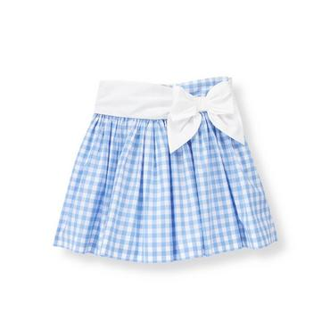 French Blue Gingham Bow Gingham Skirt at JanieandJack