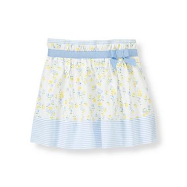 White Floral Bow Floral Stripe Skirt at JanieandJack
