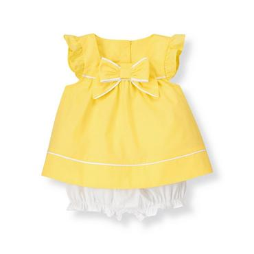 Daffodil Yellow Bow Poplin Two-Piece Set at JanieandJack