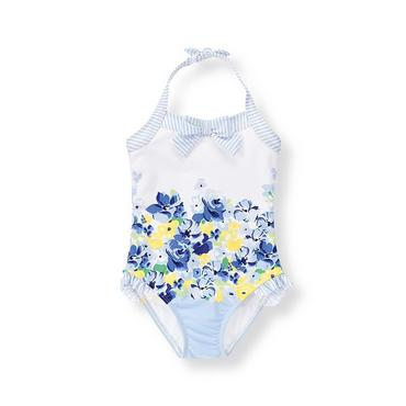French Blue Floral Floral Striped Swimsuit at JanieandJack