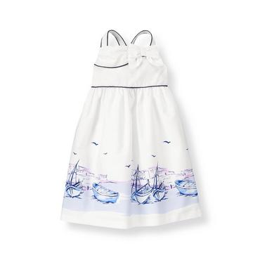 Pure White Scenic Sailboat Poplin Dress at JanieandJack
