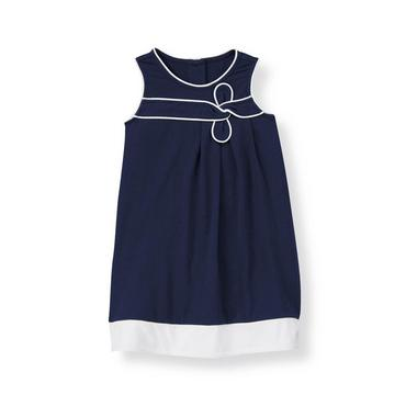 Classic Navy Piped Knit Dress at JanieandJack