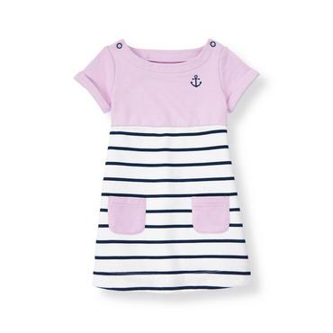 Lavender/Classic Navy Stripe Anchor Striped Terry Dress at JanieandJack