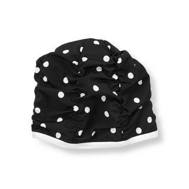 Black Dot Dot Ruched Swim Cap at JanieandJack
