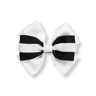 White/Black Stripe Bow Barrette at JanieandJack