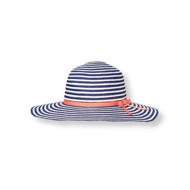 Navy Stripe Bow Stripe Straw Sunhat at JanieandJack