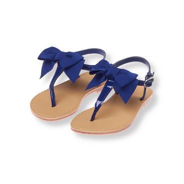 Marine Blue Bow Patent Thong Sandal at JanieandJack