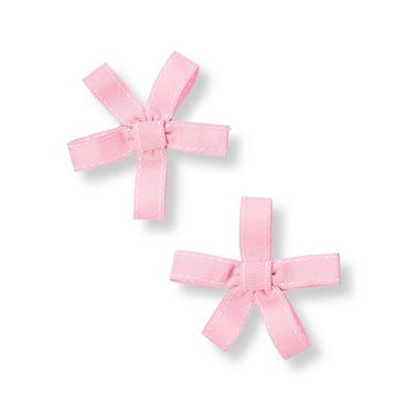Pink Pickstitched Ribbon Barrette Two-Pack at JanieandJack