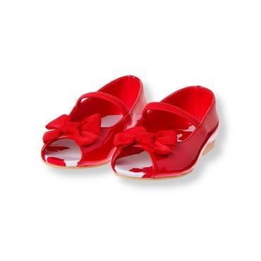 Vintage Red Bow Patent Peep Toe Shoe at JanieandJack