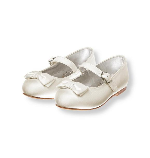 Bow Silk Duppioni Ballet Flat