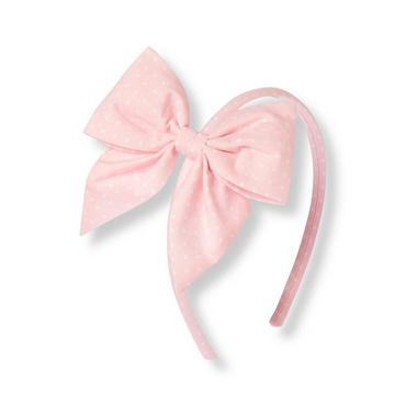 Rosebud Pink Dot Dot Bow Headband at JanieandJack
