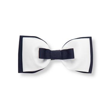 White/Navy Double Bow Barrette at JanieandJack