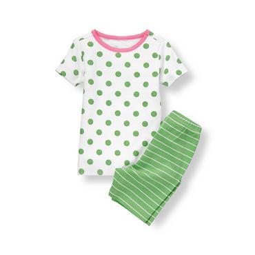 White/Green Dot Stripe Short Pajama Set at JanieandJack
