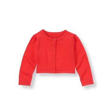 Vintage Red Crop Sweater Cardigan at JanieandJack