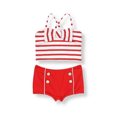Vintage Red Stripe Bow Stripe Two-Piece Swimsuit at JanieandJack