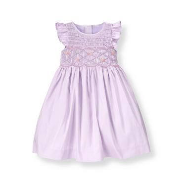 Lavender Hand-Smocked Silk Dress at JanieandJack
