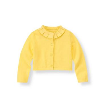 Daffodil Yellow Ribbon Ruffle Cardigan at JanieandJack