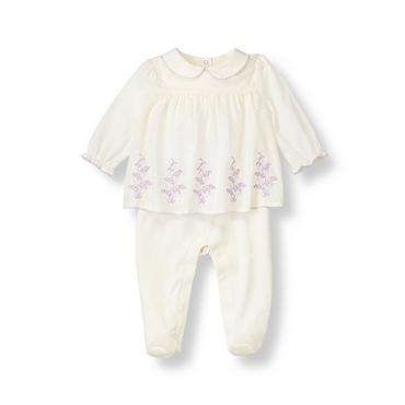 Baby Girl Jet Ivory Embroidered Collared Footed One-Piece at JanieandJack