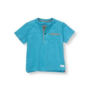 Boys Reef Blue Henley Tee at JanieandJack