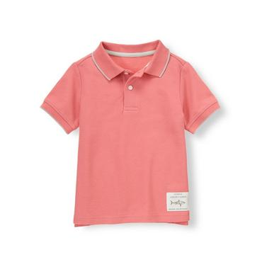 Light Coral Tipped Pique Polo Shirt at JanieandJack