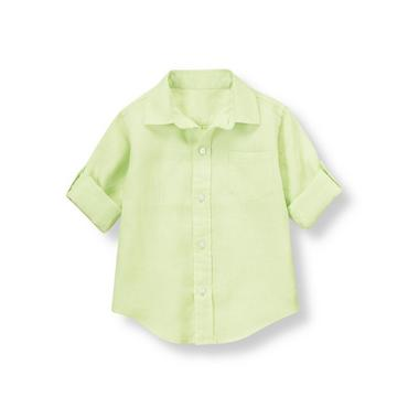 Summer Lime Linen Roll Cuff Shirt at JanieandJack