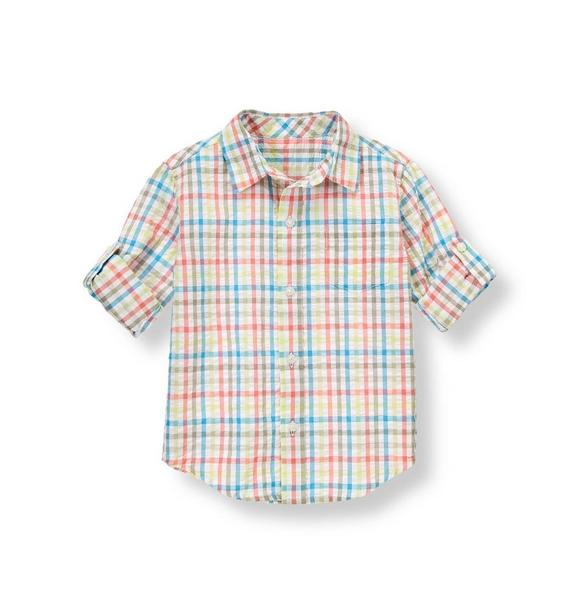 Gingham Seersucker Roll Cuff Shirt