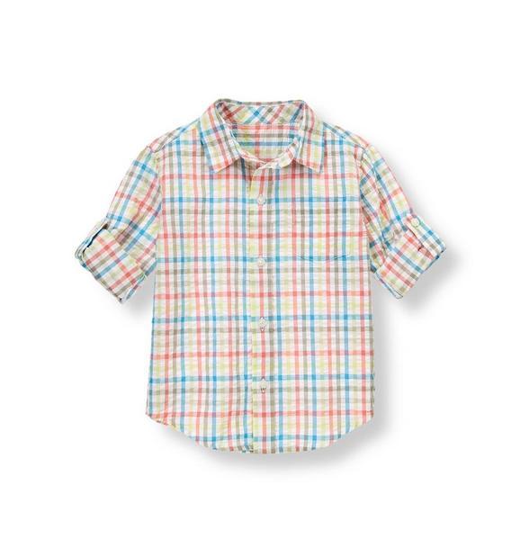 Gingham Seersucker Roll Cuff Shirt