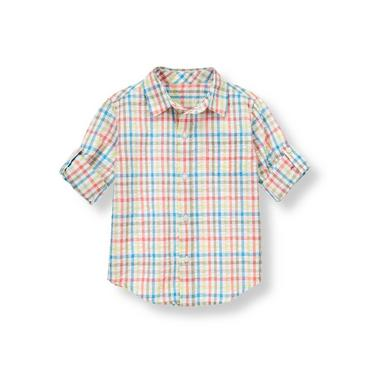 Boys Light Coral Gingham Gingham Seersucker Roll Cuff Shirt at JanieandJack