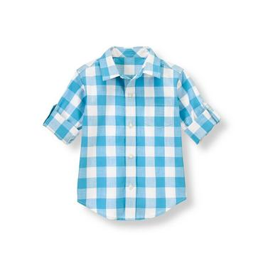 Boys Reef Blue Gingham Gingham Roll Cuff Shirt at JanieandJack