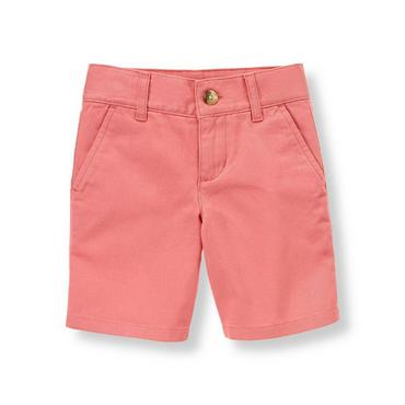 Boys Light Coral Twill Short at JanieandJack