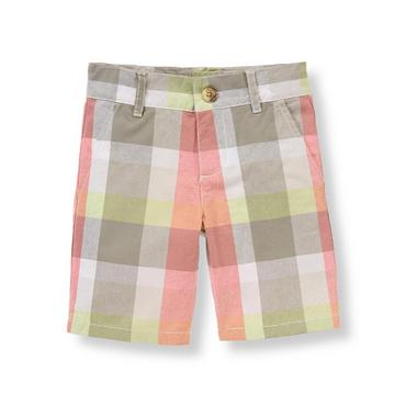 Boys Light Coral Plaid Plaid Poplin Short at JanieandJack