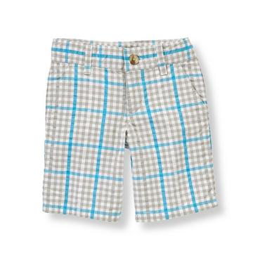 Boys Shark Grey Gingham Gingham Seersucker Short at JanieandJack