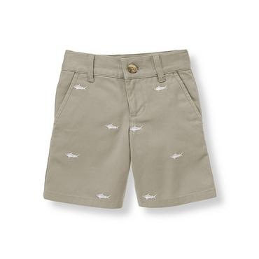 Boys Shark Grey Embroidered Shark Short at JanieandJack