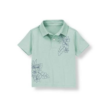 Slate Green Embroidered Flower Jersey Polo Shirt at JanieandJack