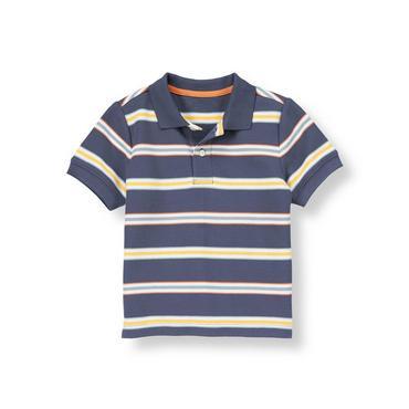Sunwashed Indigo Stripe Stripe Pique Polo Shirt at JanieandJack