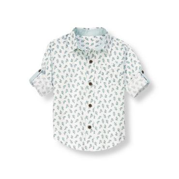 White Leaf Leaf Print Roll Cuff Shirt at JanieandJack