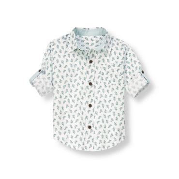 White Leaf Leaf Print Roll Cuff Shirt at JanieandJack