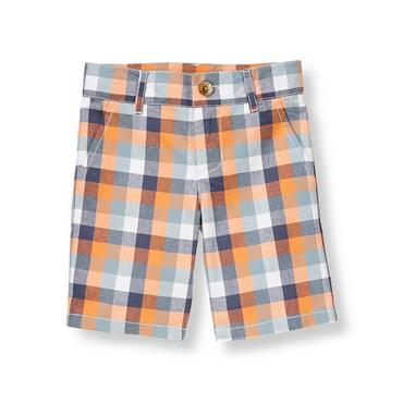 Boys Papaya Orange Plaid Gingham Poplin Short at JanieandJack