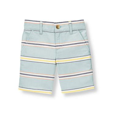 Boys Sunwashed Slate Stripe Oxford Stripe Short at JanieandJack