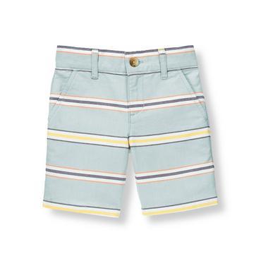 Boys Sunwashed Slate Stripe Oxford Stripe Short at JanieandJack