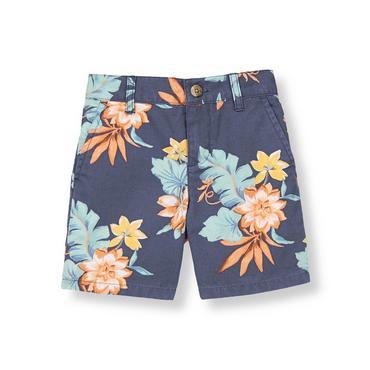 Boys Sunwashed Indigo Floral Tropical Short at JanieandJack
