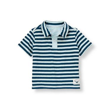 Pale Blue Stripe Stripe Pique Polo Shirt at JanieandJack