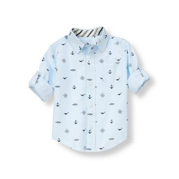 Pale Blue Nautical Nautical Roll Cuff Shirt at JanieandJack