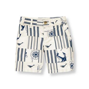 Boys White/Nautical Navy Patchwork Embroidered Whale Patchwork Short at JanieandJack