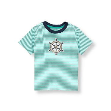 Aqua Stripe Sailing Wheel Tee at JanieandJack