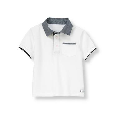 Pure White Canvas Collar Polo Shirt at JanieandJack