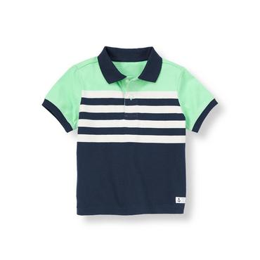 Marine Navy Striped Polo Shirt at JanieandJack