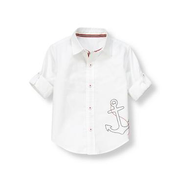 Pure White Anchor Roll Cuff Oxford Shirt at JanieandJack